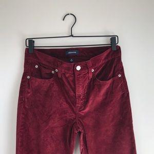 "J. CREW 9"" HIGH-RISE TOOTHPICK VELVET PANTS"